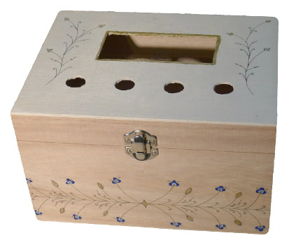 Wooden box decorated